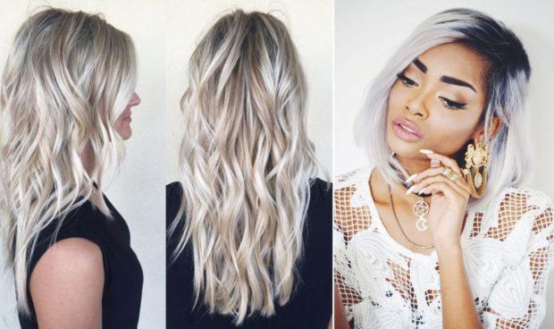 модный цвет волос: платиновый блонд с русыми прядями темные корни платиновый по всей длине