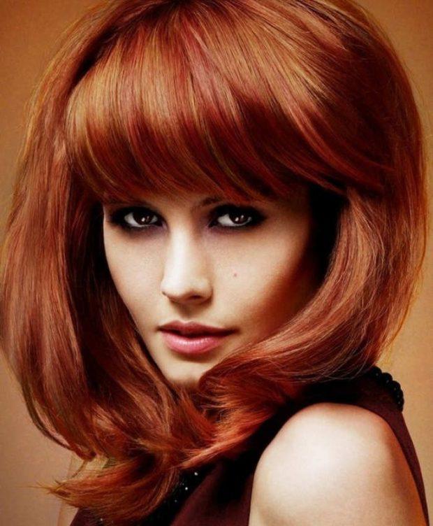 модный цвет женских волос: рыжий с золотом