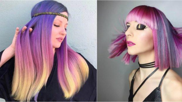 модные цвета волос: окрашивание хамелеон сиреневый с белым розовый с серым