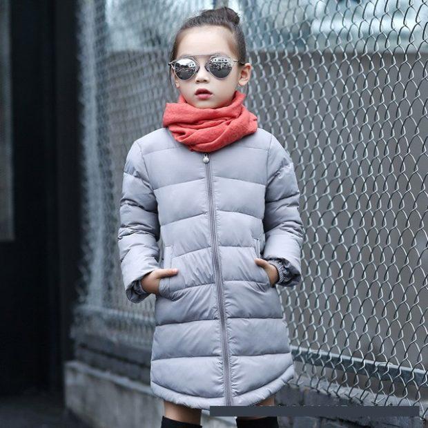 серая детская куртка удлиненная осень зима 2019-2020