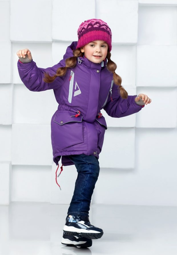 детские зимние куртки: парка фиолетовая