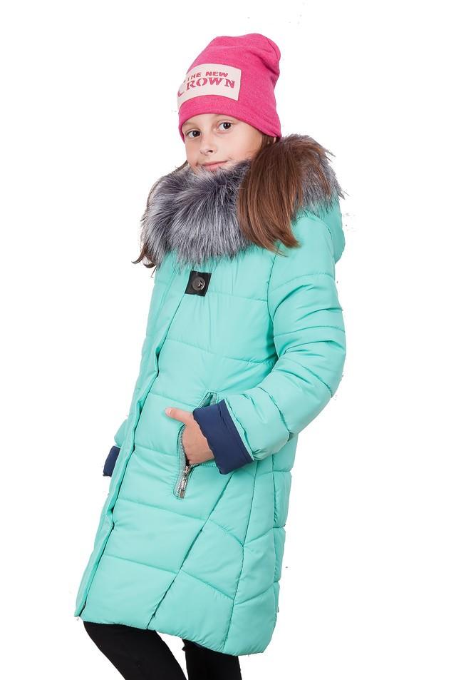 детские зимние куртки: зеленый пуховик удлиненный с капюшоном и мехом