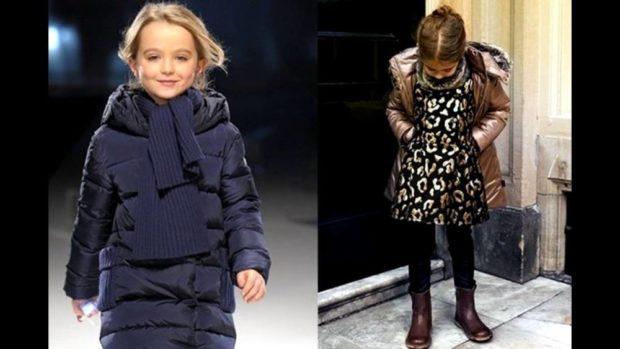 детские зимние куртки: черный пуховик стеганый бронзовый