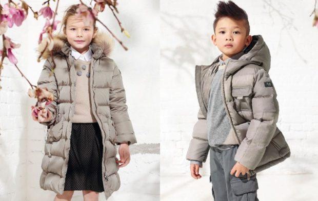 детские зимние куртки: серые пуховики для девочек стеганый для мальчиков с капюшоном