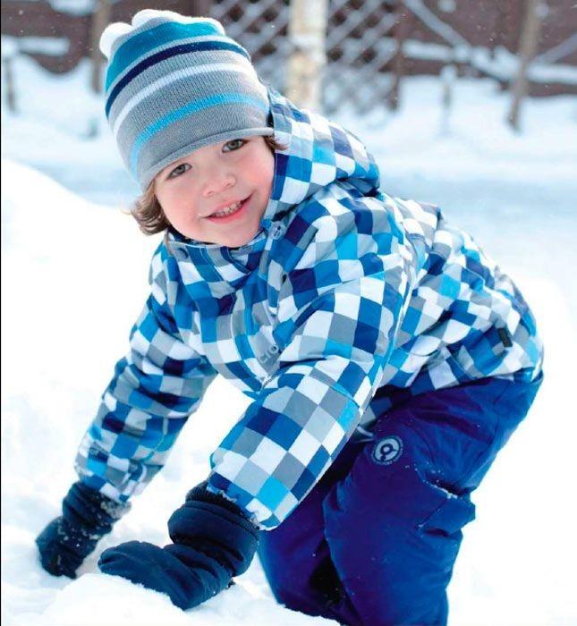 детские зимние куртки: пуховик в клетку синий с голубым
