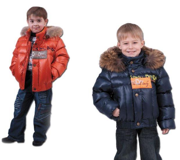 детские зимние куртки: пуховики короткие для мальчиком оранжевый синий