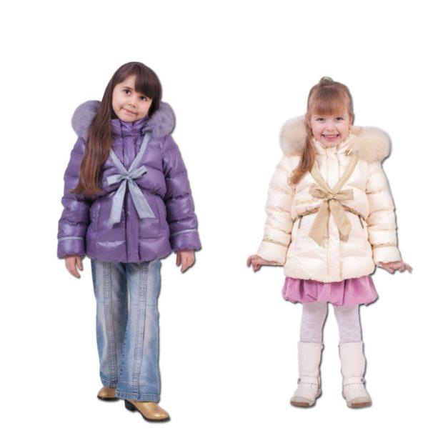 детские зимние куртки: стеганые пуховики фиолетовый бежевый с бантом