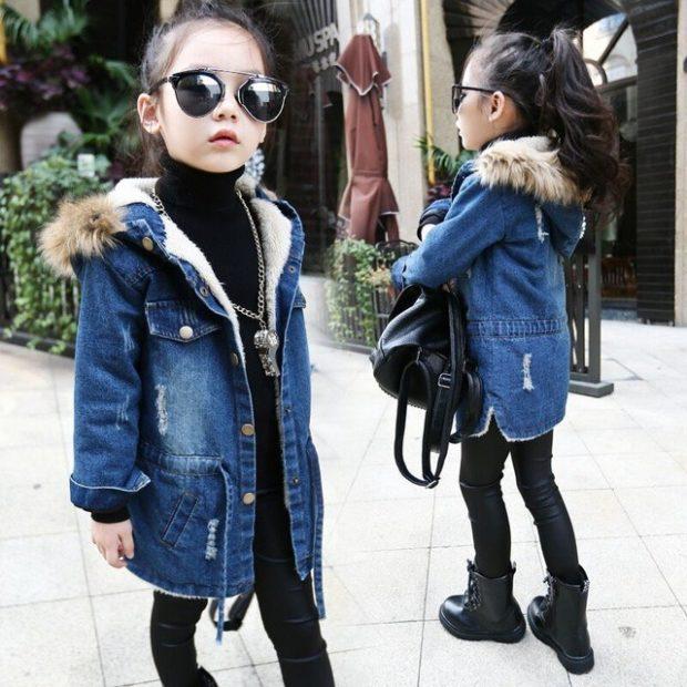 детские зимние куртки: джинсовая с мехом на осень