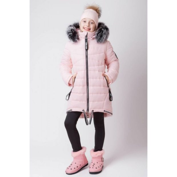 детские зимние куртки: розовый девчачий пуховик водоотталкивающий