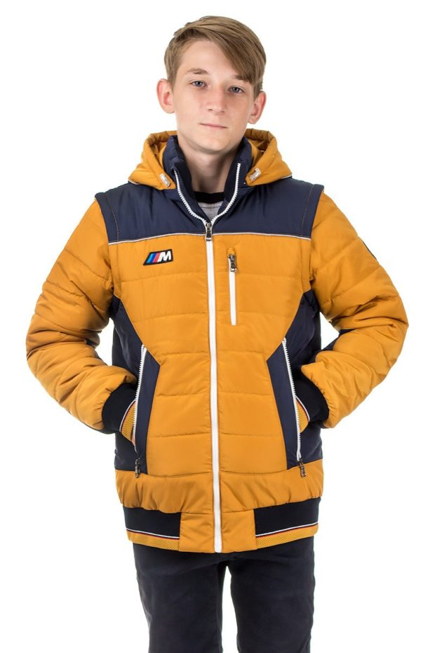 детские зимние куртки: коричневые пуховик с синим водоотталкивающий