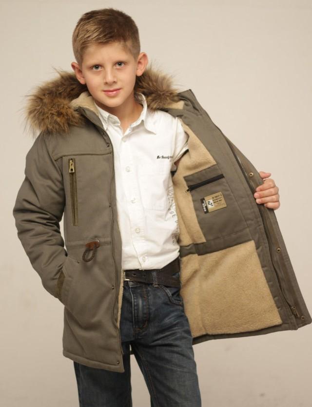 куртка-парка коричневая с капюшоном