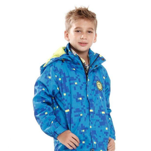 детская куртка спортивная синяя в клетку