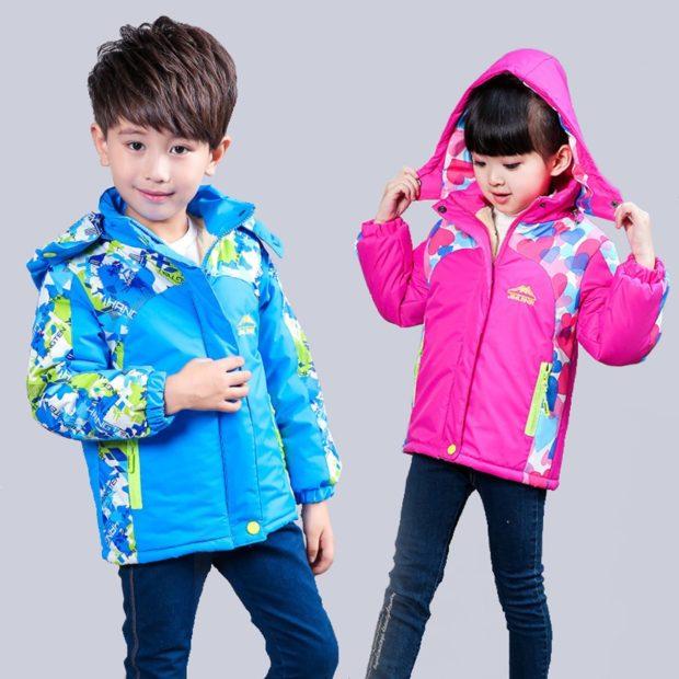 детские куртки спортивные яркие голубая розовая