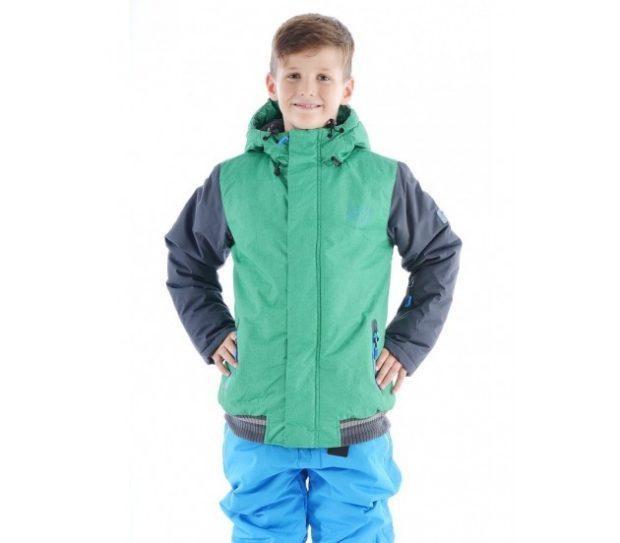 детская куртка спортивная зеленая с серым