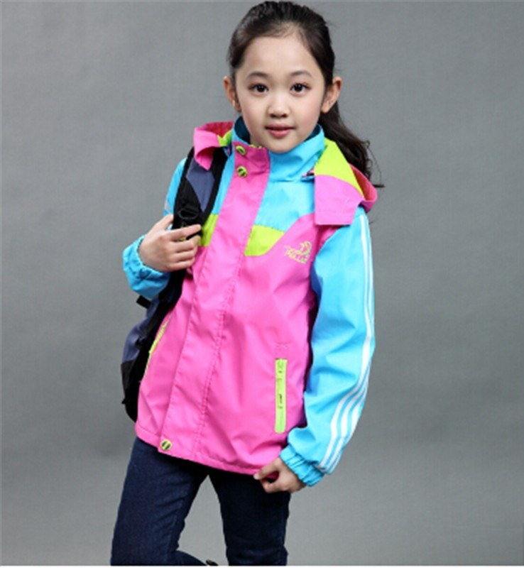 куртка для девочки яркая розовая с голубым спортивная