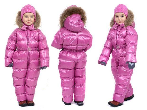 детские зимние куртки: комбинезон розовый стеганый с капюшоном и мехом