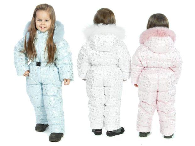 детские зимние куртки: голубой и розовый белый комбинезон с капюшоном для девочки