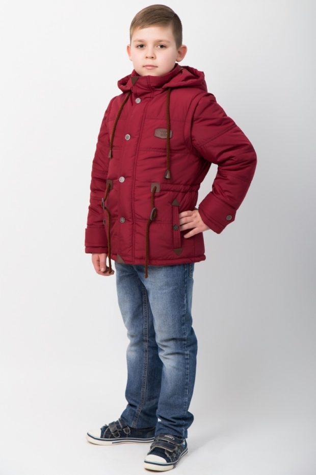 детская куртка-парка красная для мальчика
