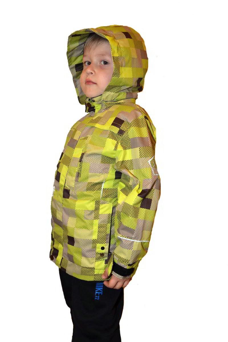 куртка осень для мальчика зеленая салатовая в клетку с капюшоном