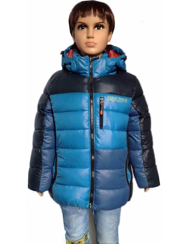 детские куртки для мальчиков зима: синяя с голубым и черным