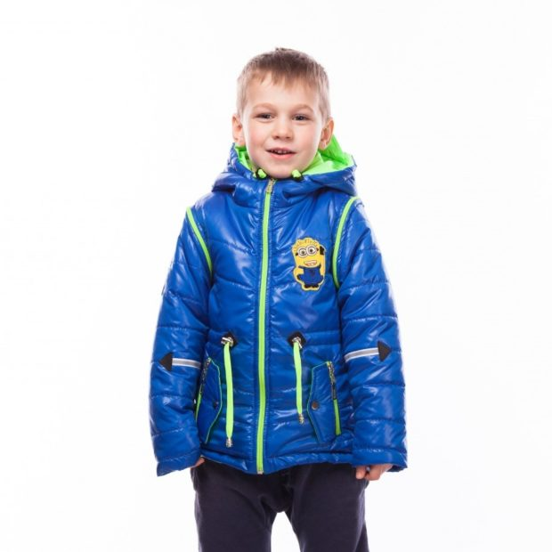детские куртки зима для мальчиков: синяя зеленая змейка с нашивкой