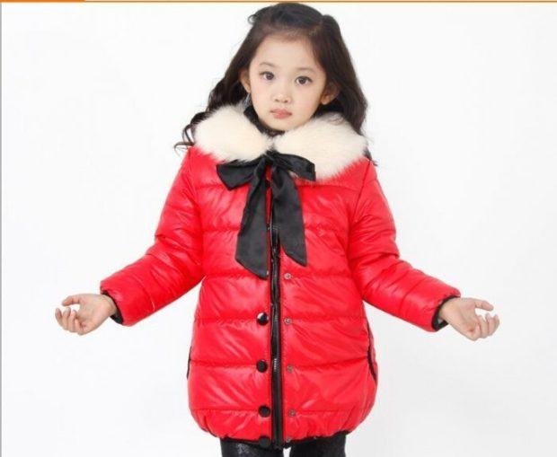 детские модные куртки для девочек: красная осень зима 2019-2020 с бантом