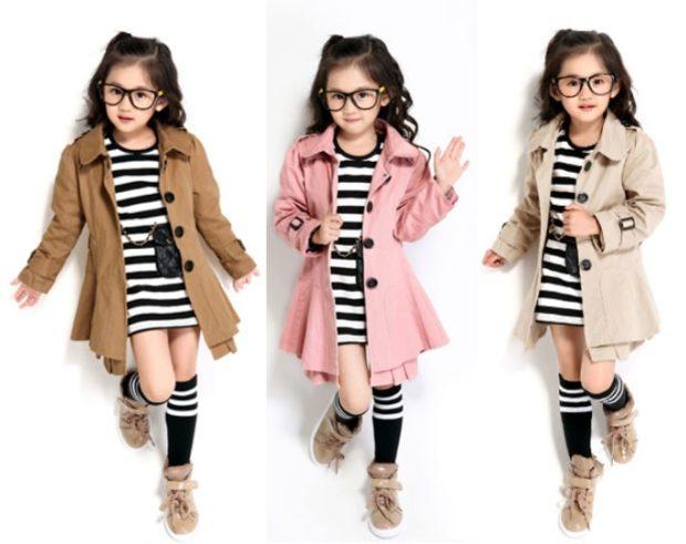 зимние детские плащи для девочек коричневый розовый бежевый