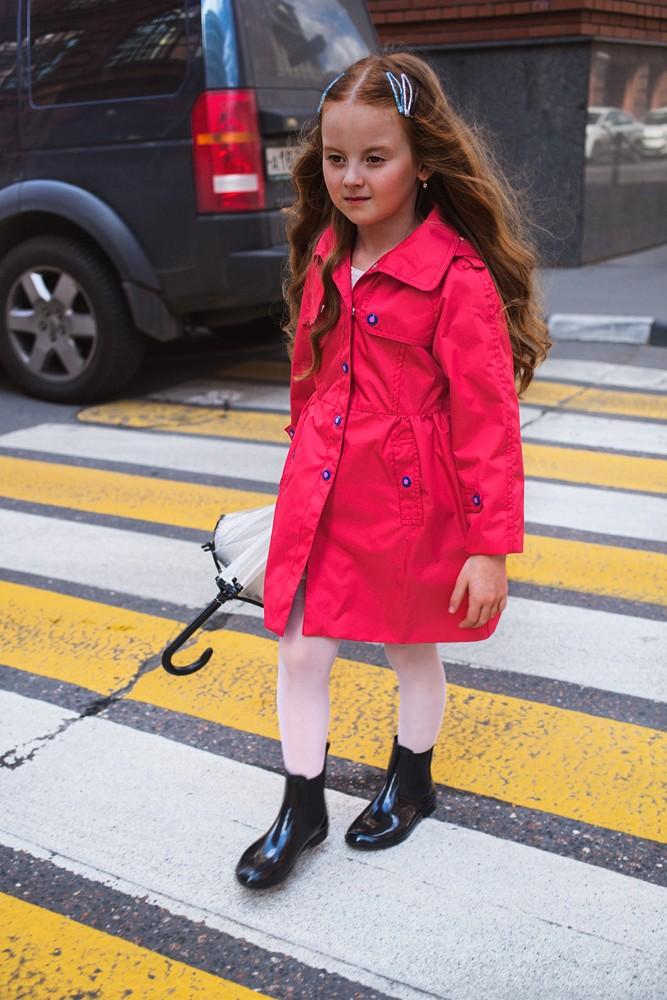 зимний детский плащ розовый для девочки