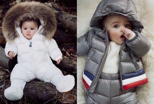 детская куртка-комбинизон белая с капюшоном серая с полосками с капюшоном