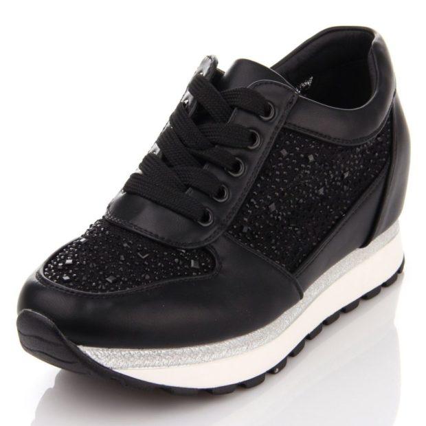 кроссовки черные на платформе с камешками
