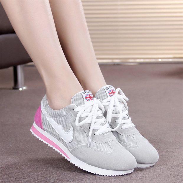 кроссовки серые с сеткой розовая пятка