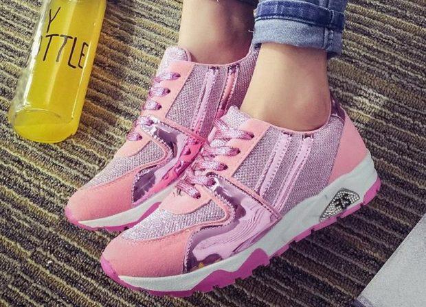 кроссовки розовые со вставками металла
