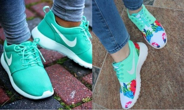 кроссовки бирюзовые бирюзовые с цветами на носке