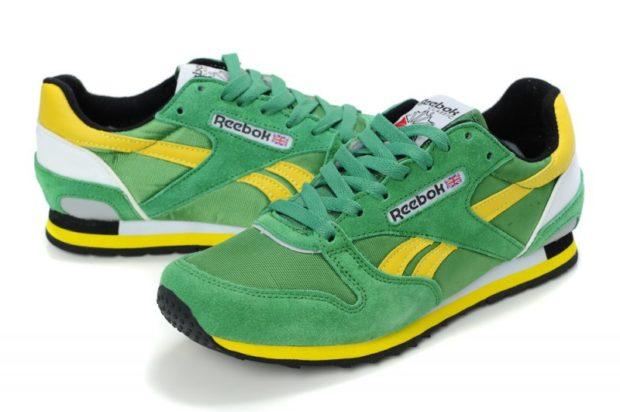 кроссовки из нубука зеленые с желтым