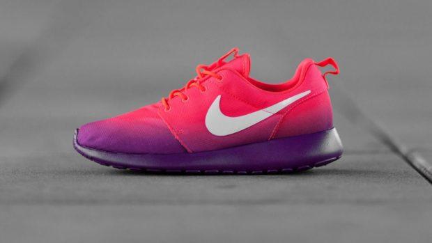 кроссовки омбре фиолетовые с розовым