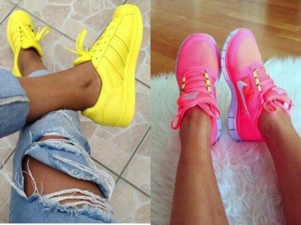 неоновые кроссовки желтые розовые