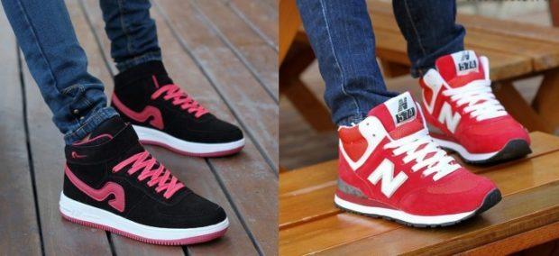кроссовки унисекс черные с розовым красные с белым