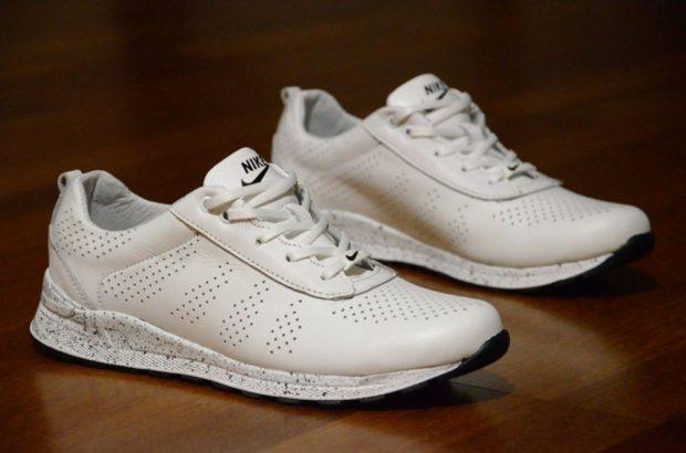 кроссовки белые кожа с дырочками