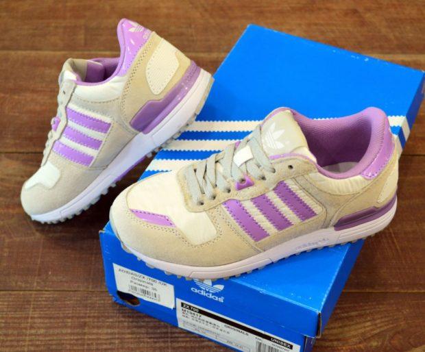 кроссовки унисекс бежевые с фиолетовым