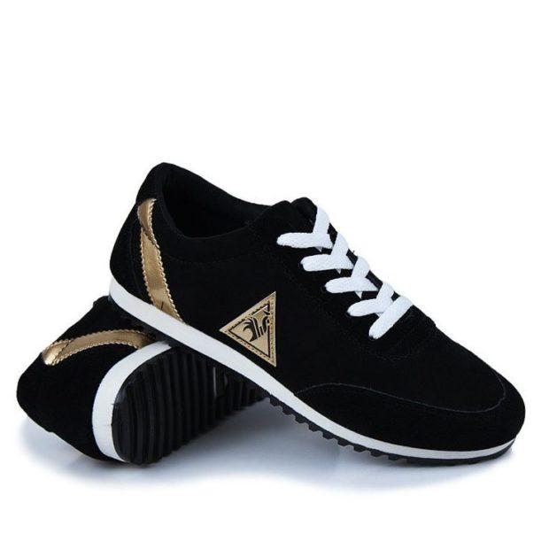 кроссовки унисекс черные с золотом