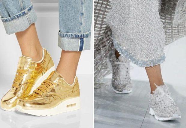 блестящие кроссовки золотые серебристые