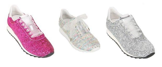 блестящие кроссовки розовые белые серебро