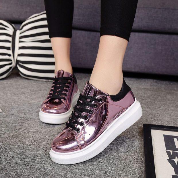 блестящие кроссовки розовые металлика