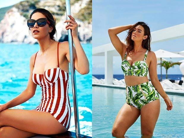 Модные купальники 2022-2023: ретро-стиль полосатый красный с белым раздельный в салатовый принт