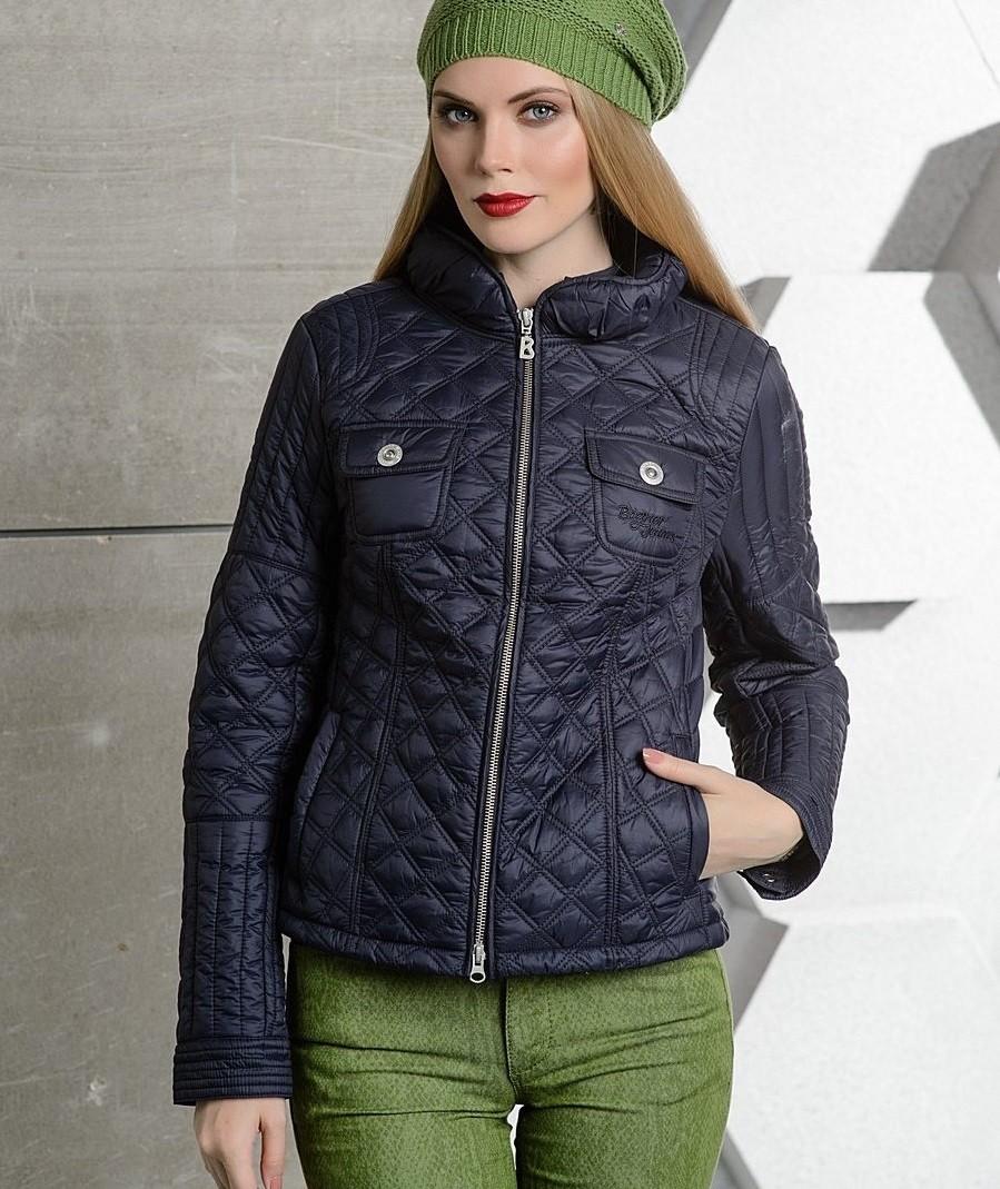 стеганая куртка синяя короткая