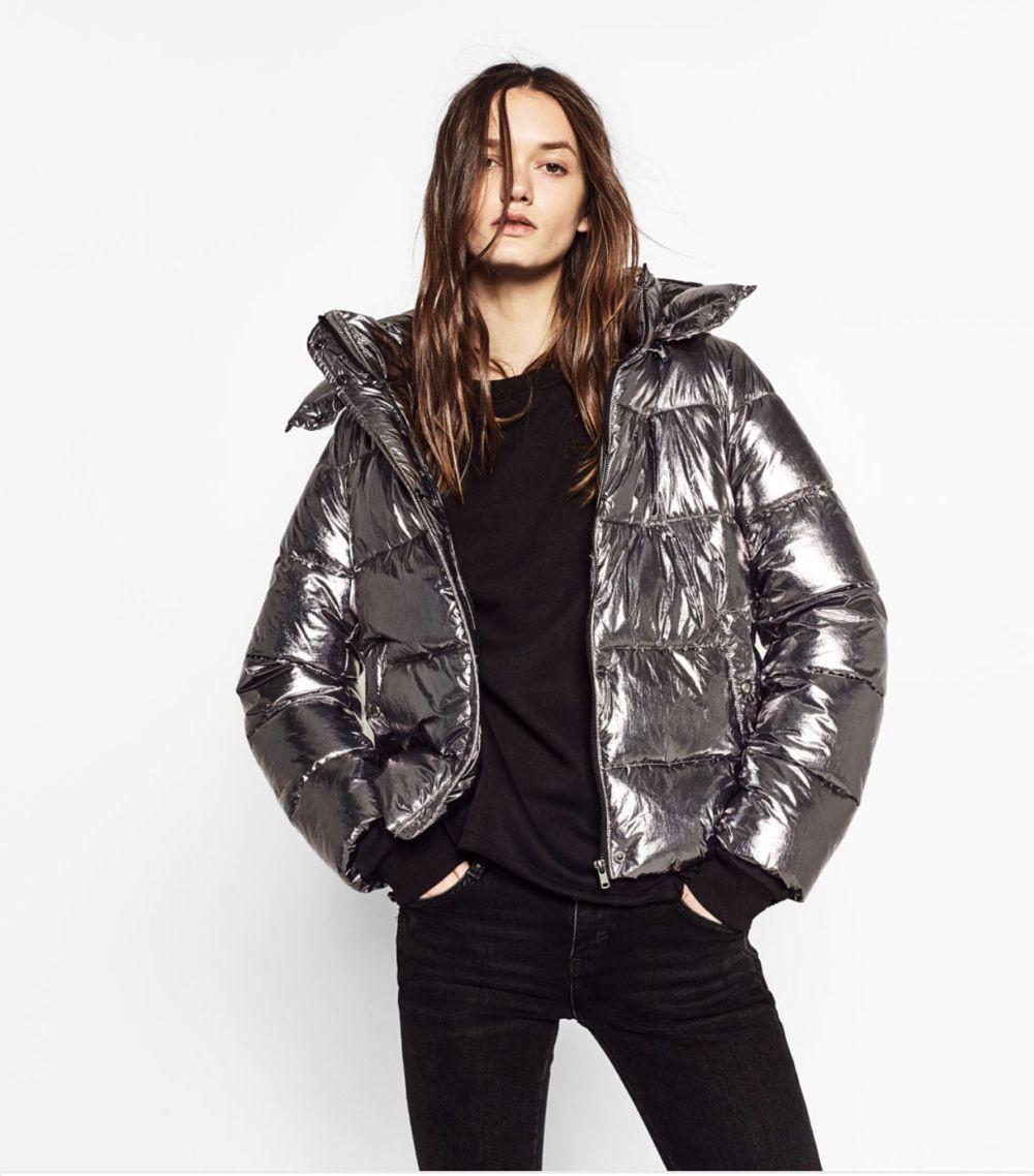 весенняя куртка дутая металлик