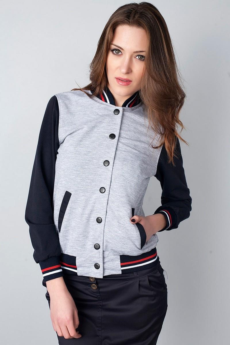 куртка-бомбер трикотажная серая с черными рукавами