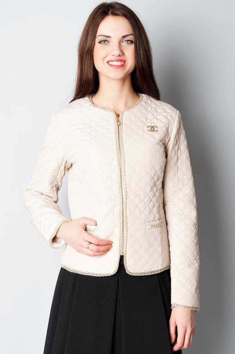 стеганная куртка короткая с золотым декором