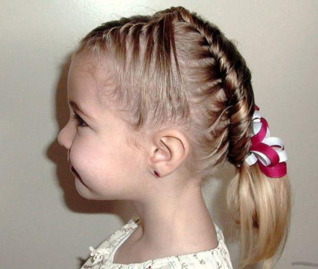 модные стрижки для девочек: коса-колосок
