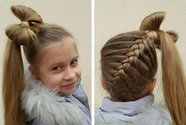модные стрижки для девочек: коса сзади бант из волос